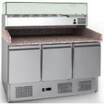 Хладилна маса за пици 3 врати с гранитен плот